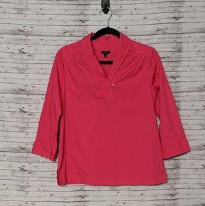 Talbots Petite SZ:10P pink Tunic gold buttons